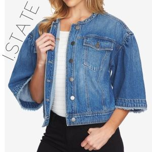 NWT 1. State cropped frayed denim jean jacket S